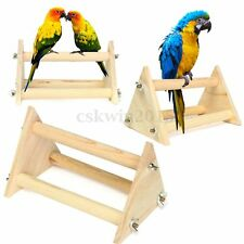 Wooden Parrot Standing Perch Stand Bird Cage Toy For Parakeet Budgie Cockatiels