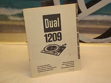 Vintage Dual 1209 Turntable   Original Operating Instruction Manual