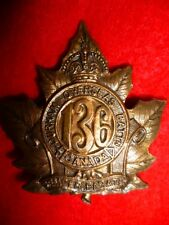 CEF 136th Bn (Port Hope, Ontario) Cap Badge, Smooth Back - Canada WW1