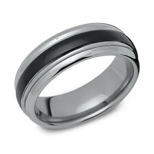 New 7mm 2 Tone Black IP Stripe Tungsten Wedding Band Ring Size Z+2 RRP £67
