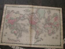 1863 ORIGINAL Huge Map of the World