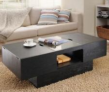 Black Coffee Table Storage Bench Furniture Living Room Rectangular Hidden Safe