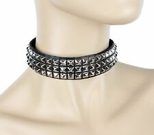 "Three Row Mini 1/4"" Pyramid Studded Punk Goth Rockers Collar Genuine Leather"