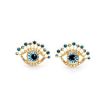 Women Personality Unique Gold Plated Blue Eyes Stud Earrings