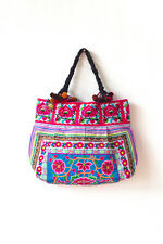 Blue Silk Worm Tribal Hill Tribe Tote Bag Large Embroidered Ethnic Hmong Thai
