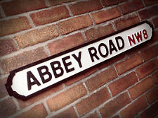 Abbey Road Old Wood London Vintage Street Sign The Beatles Recording Studio