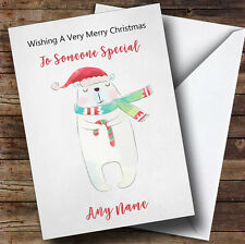 Cute Doodle Watercolour Polar Bear Personalised Christmas Card