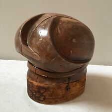VINTAGE ANTIQUE WOOD HAT BLOCK RESTORED MILLINERY 5 PIECE PUZZLE MOLD