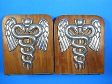 """wood pewter metal Bookends Physician Doctor Medical Caduceus 6.5"""""""