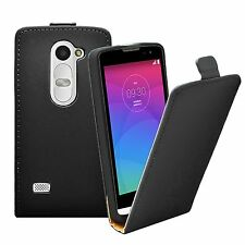 Ultra Slim BLACK Leather Flip Case Cover for LG Leon (4G LTE H340N) +2 FILMS
