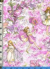 Fabric Miller victorian style PETAL FLOWER FAIRIES PINK TOSSED BTHY