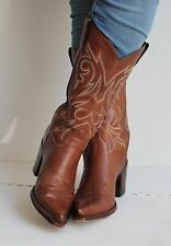 R.SOLES Judy Rothchild Tan Cowboy Cowgirl Western Boots Size 39 UK 6.5 Great Con