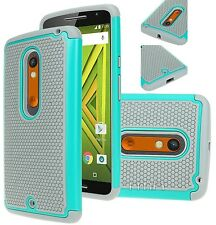 Motorola Moto X Play Rugged Rubber Impact Hybrid Shock Proof Case Cover - Teal
