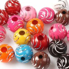 100pcs 110698 New Wholesale Colorful Assorted Wave Round Plastic Beads 12mm