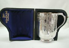 Antique Beautiful Pristine Cased Walker And Hall Solid Silver Christening Cup