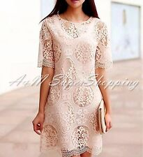 ZARA NUDE LACE MINI DRESS GUIPURE LIGHT PINK SIZE M 10 UK 38 EU 6 US