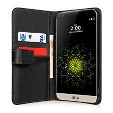 Yousave Accesorios Negro Cuero PU Abatible Billetera Teléfono Estuche Cubierta Para LG G5