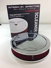 """Chrome Air Cleaner 9"""" x 2"""" Chevy Mopar Ford Spectre 47708 Washable Filter HPR"""