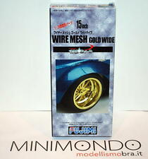 "WIRE MESH GOLD WIDE 15"" TYRE WHEEL SET CERCHI E GOMME 1/24 FUJIMI 19282"