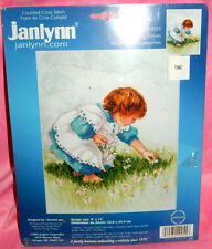 New Janlynn Collecting Daisies Counted Cross Stitch Kit Little Girl Flowers