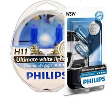 (+ W5W Parkers!) PHILIPS H11 Genuine Diamond Vision 5000K Bulbs OZ seller