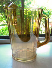 "Vintage ""Stripe"" Marigold Carnival Glass Water/Tea Pitcher 9"" Tall No Damage"