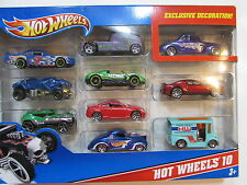 HOT WHEELS 10 CAR PACK CHEVY QOMBEE TURBO FORD COUPE FORD INFINITY