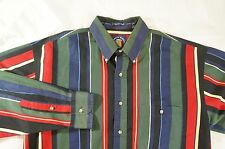 SALTY DOG GANT 90's Style Striped Color Block Shirt Imperial Poplin - Mens L -
