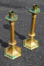 + Pair of Older Neo-Gothic Altar Candlesticks + Brass + chalice co. + (CU229)