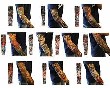 Men 10 PCS Mix Styles Fake Temporary Tattoo Sleeves Arm Stocking Cosplay Party