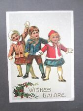 VINTAGE Christmas Card 1920's Cute Children in the Snow Embossed Holly