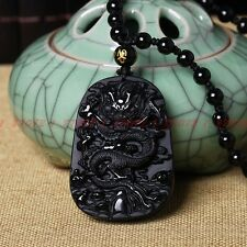 Natural obsidian fashion dragon pendant necklace Men lucky jewelry