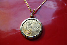 "LEO LION COIN GOLDEN BRASS BEZEL COIN PENDANT on a 28"" Gold Filled Figaro Chain"