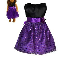 Handmade New Purple  Dress For 18 inch American Girl Doll Party Gift Toys