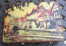 Vintage Cookie Biscuit Tin Canister  Westgate Warwick England Scene