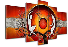 Original Modern Abstract Red Sun Canvas Oil Painting Home Decor Wall Art Framed