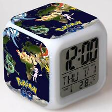 Hot Pokemon Anime Alarm Clock 7 Color Change LED Digital Children Bedroom #10 TL