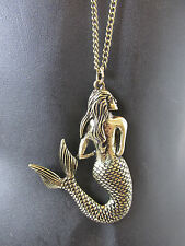Bronze Gold Mermaid Necklace Long Beach Pendant Sea Costume Fancy Dress Vtg S50