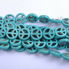 20pcs Mixed Color White Turquoise Peace Symbol Beads 15MM