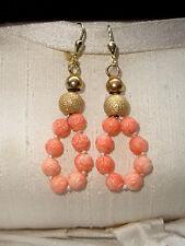 Ohrringe Hänger + Engelshaut Koralle Perlen + 925 Silber vergoldet