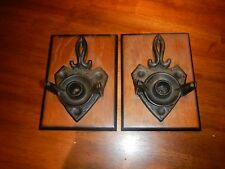 vintage antique cast iron wall mount swivel candle holder sconces man cave rare