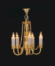 1:12 Scale Working 5 Arm Up Brass Palace Chandelier Dolls House Miniature 6028