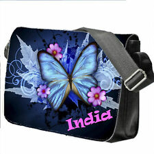 Personalised School / College / Large Messenger Bag Add a Name Blue Butterfly