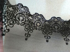 "3Yards*4"" black embroidered lace, vintage lace trim -LSE0015B"