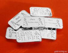 5x 1 Gramm Silberbarren FROHE WEIHNACHTEN Weihnachtsgeschenk 1g 5g Silber Barren