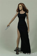 1:6 Customize Black Long Dress Gown For Phicen Seamless Large Bust Figure Body