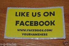 LOT OF 200 YELLOW LIKE US ON FACEBOOK CUSTOM YOURNAMEHERE Shipping Stickers 2X1