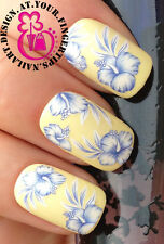 NAIL ART WRAP WATER STICKERS TRANSFERS DECALS SET WHITE BLUE HIBISCUS FLOWER 434