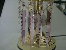 "4.5"" PINK CRYSTAL GLASS SWORD LAMP CHANDELIER PRISM X'MAS WEDDING DEC PENDANT 10"