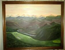 Framed Vintage Painting of Golf Course in the Mountains.  Golf Landscape Art.